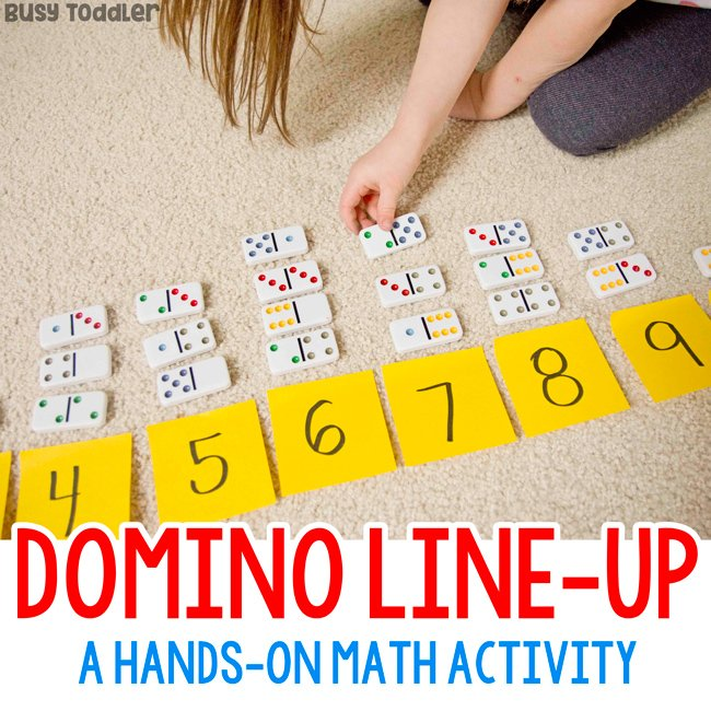 Domino Line-Up Preschool Math Activity - Busy Toddler