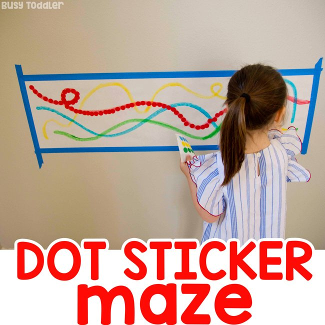 DOT STICKER MAZE: a quick and easy dot sticker activity; easy toddler activity; easy preschool activity; quick and easy activity; rainy day activity; fine motor skills activity from Busy Toddler