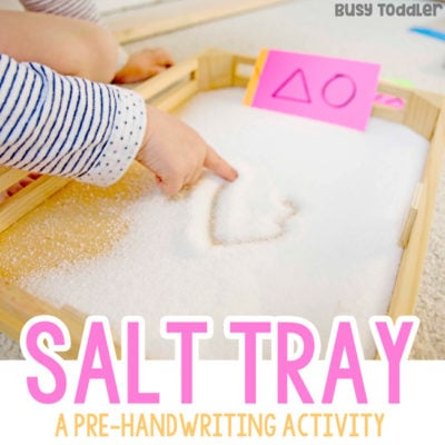 SALT TRAY PRE-WRITING ACTIVITY: A fine motor skill activity; preschool writing activity; writing skills; preschool activity; sensory writing; progression of handwriting activity from Busy Toddler