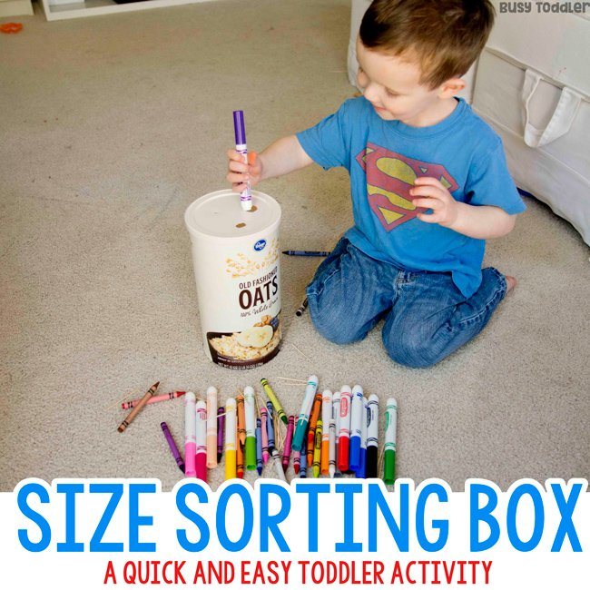 SIZE SORTING BOX: Easy indoor activity for toddler; taby activity; quick and easy activity; toddler activities; busy toddler activities; keeping toddlers busy; rainy day activities for Busy Toddler