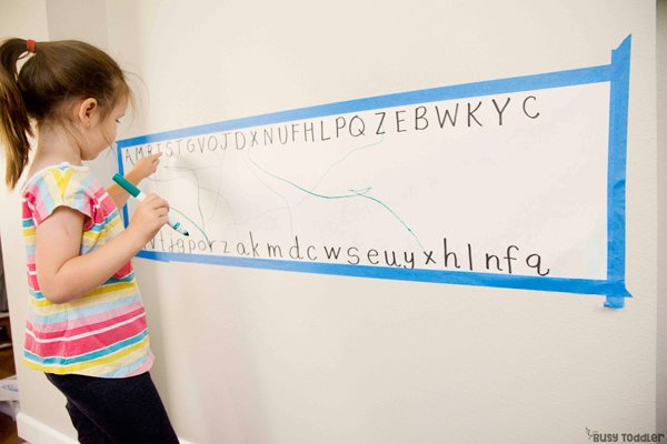 ALPHABET MATCHUP ACTIVITY: A quick and easy preschool activity; learning letters activity; alphabet knowledge activity; easy rainy day activity from Busy Toddler