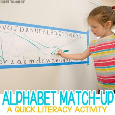 ALPHABET MATCHING ACTIVITY: A quick and easy preschool activity; learning letters activity; alphabet knowledge activity; easy rainy day activity from Busy Toddler