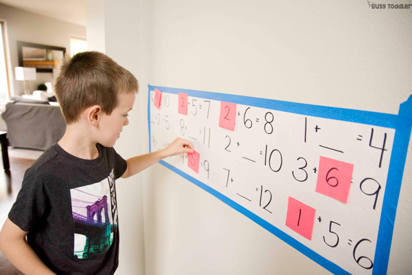 FINISH THE EQUATION: A quick and easy math activity; kindergarten math; first grade math; hands-on addition activity; learning to add with Busy Toddler