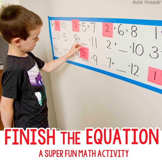 Finish the Equation Math Activity - Busy Toddler