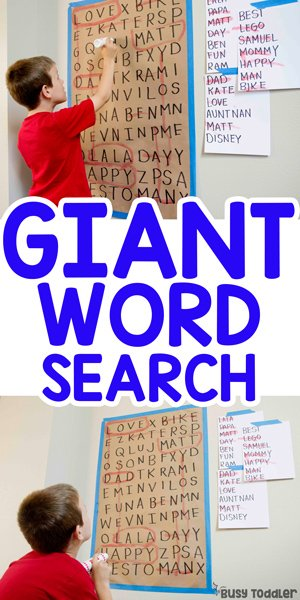 GIANT WORD SEARCH: A fun and easy activity for kids; kids activity; playbased learning activity; playing to learn activity; learning through play; sight words; CVC words; learning to read with Busy Toddler