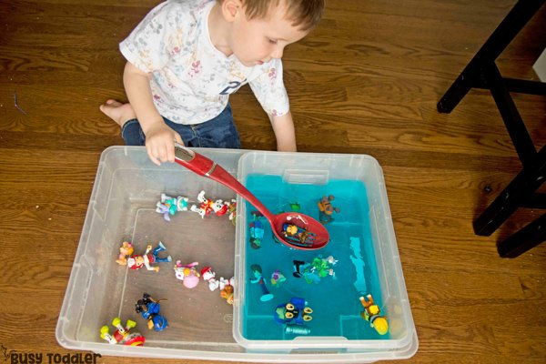 PAW PATROL SEARCH AND RESCUE SENSORY BIN: A Paw Patrol activity for toddlers and preschoolers; quick and easy sensory bin; scoop and transfer bin, montessori sensory bin; scooping station; water activity from Busy Toddler