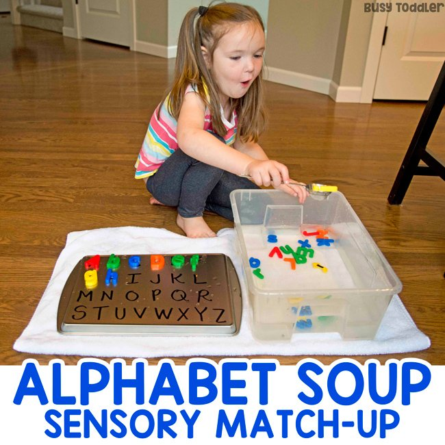 Alphabet Soup Sensory Activity for Kids - Busy Toddler