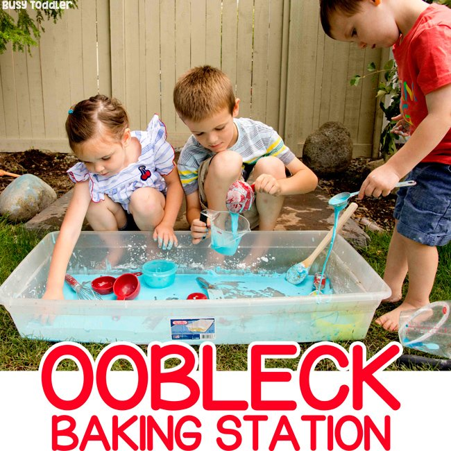 OOBLECK BAKING STATION: Quick and easy sensory bin; invitation to play; sensory activity for toddler; sensory bin for preschoolers; outdoor activity idea; summer activity idea; making oobleck with Busy Toddler
