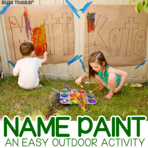 OUTDOOR NAME ART ACTIVITY: A fun summer painting project; name recognition activity; painting activity for toddlers; art activity for preschoolers from Busy Toddler