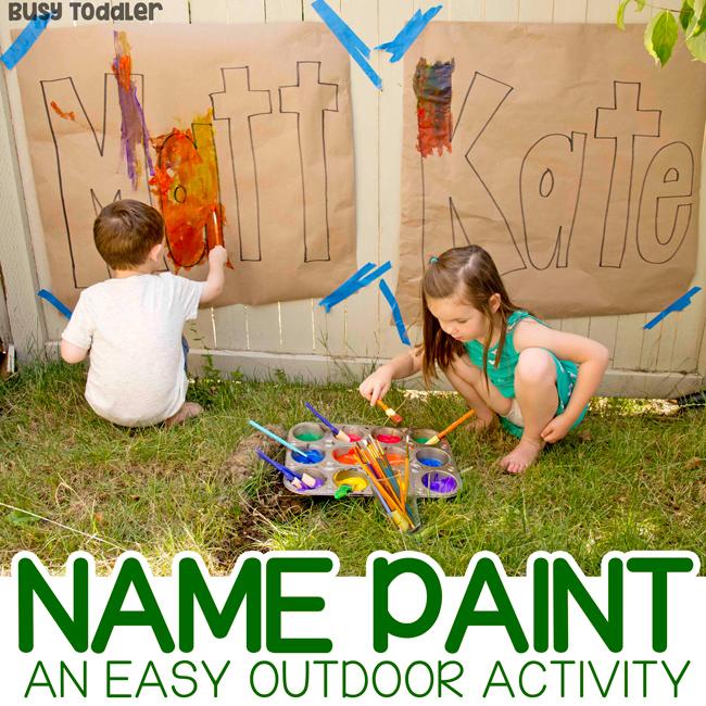 OUTDOOR NAME ART ACTIVITY: A fun summer painting project; name recognition activity; painting activity for toddlers; art activity for preschoolers from Busy Toddler