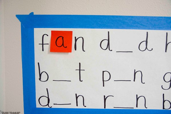 MISSING SOUNDS READING GAME: A quick and easy phonics game for kids; kids phonics activity; easy reading activity for kids; learning to read; hands-on reading game from Busy Toddler