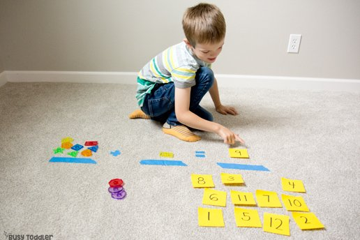 MATH ACTIVITIES WITH SHAPES (ad): Can you use one toy for activities? You sure can! Turn one toy into 7 match activities for preschoolers; preschool math activities; learning about shapes with Busy Toddler and Lakeshore Learning