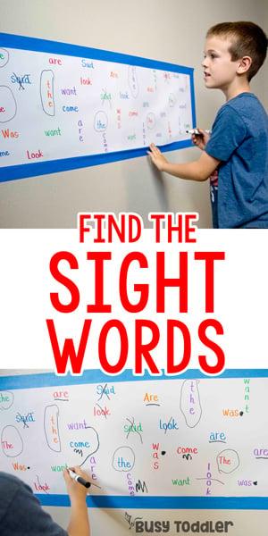 BUSCAR PALABRA VISUAL: Una actividad de palabra visual rápida y fácil; actividad de lectura para niños; actividad de lectores principiantes de Busy Toddler