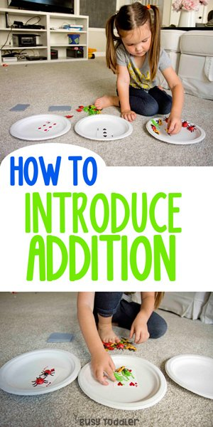 INTRODUCING ADDITION TO PRESCHOOL AND KINDERGARTEN: A fun way to explain the concept of addition to young children; hands-on math education; learning about math and addition; mathematical conceptual understanding activity from Busy Toddler