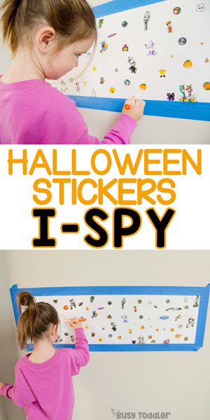 HALLOWEEN I-SPY:  A quick and easy preschool activity using Halloween stickers to make a giant I-Spy board; a great indoor activity and fine motor skills activity from Busy Toddler