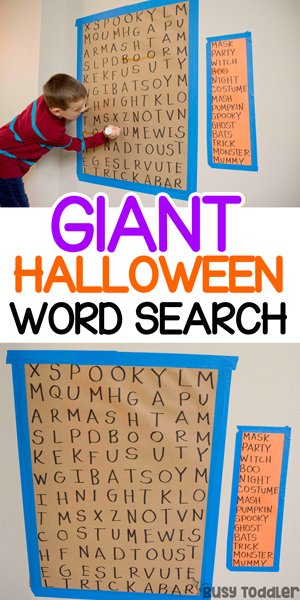 HALLOWEEN WORD SEARCH:  A quick and easy big kid activity with a giant word hunt for Halloween. This easy indoor activity is the perfect literacty Halloween activity from Busy Toddler