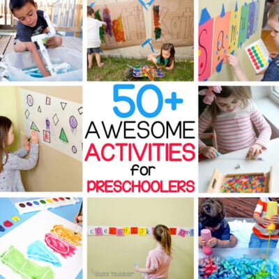 50+ EASY ACTIVITIES FOR PRESCHOOLERS: Check out this amazing round up of 50+ activities for preschoolers to try at home. This list is full of STEM, literacy, and art activities for preschoolers from Busy Toddler