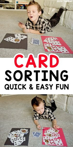 CARD SORTING ACTIVITY: A quick and easy math activity that's perfect on a rainy day. A great toddler or preschooler learning activity using a deck of cards. An easy math activity from Busy Toddler.