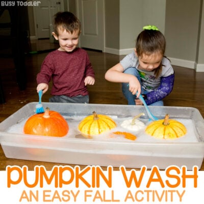 Clean the Pumpkins Fall Toddler Activity