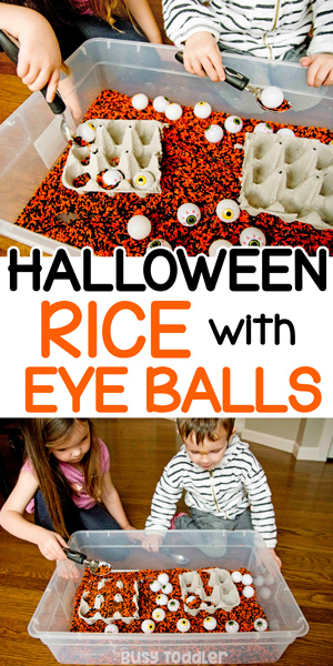 HALLOWEEN RICE BIN: A quick and easy sensory bin activity for toddlers and preschoolers. Have a blast with this cheap Halloween activity using dollar store supplies from Busy Toddler