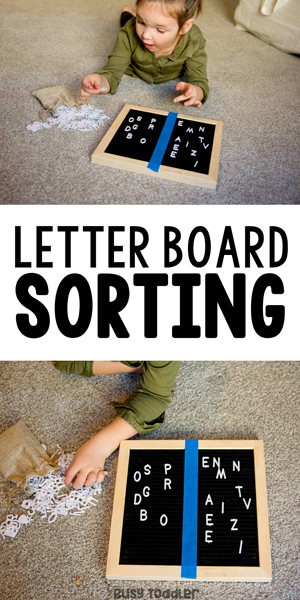 LETTER BOARD ALPHABET ACTIVITY - sort letters by shape; a preschool literacy activity; preschoolers learning the alphabet from Busy Toddler