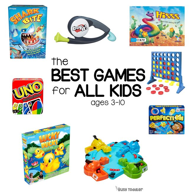 BEST BOARD GAMES FOR KIDS: Check out this awesome list of games from Busy Toddler! Family friendly games, classic games, and new board games to try!