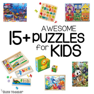 AWESOME PUZZLES FOR KIDS: Check out this great list of puzzles kids will love - a great list of puzzles for early childhood to kindergarten (list made by Busy Toddler)