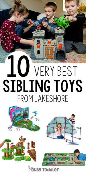 BEST SIBLING GIFTS: How do you find toys that all your kids will love? You go to Lakeshore! Check out these awesome toys from Lakeshore Learning (ad) with Busy Toddler