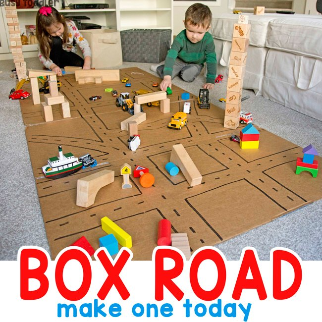 BOX ROAD - A quick and easy cardboard activity from Busy Toddler; kids make an indoor city from a box; a recycled activity