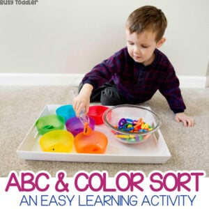 ABC Color Sort: A quick and easy toddler activity; color sorting activity from Busy Toddler; a fun way to introduce the alphabet to toddlers; letter naming activity