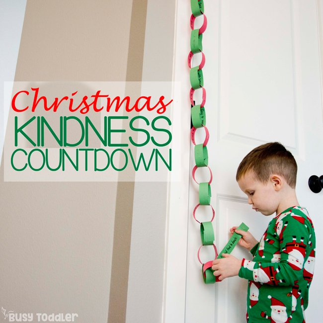 KINDNESS COUNTDOWN TO CHRISTMAS FOR CHILDREN:  A random acts of kindness paper chain to help children have giving hearts at Christmas; twelve days of christmas for children from Busy Toddler