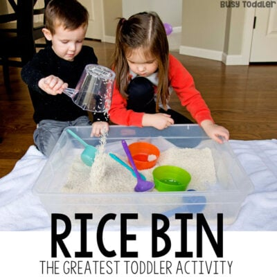 RICE SENSORY BIN - The number 1 kids activity; the best sensory bin; the greatest toddler activity; best way to entertain a child from Busy Toddler