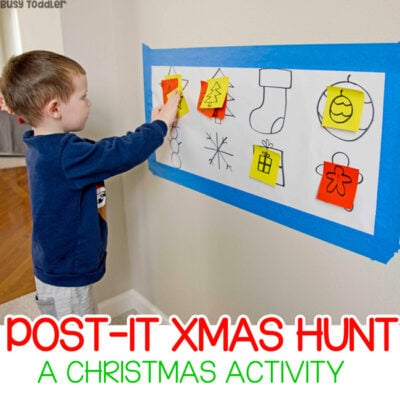 CHRISTMAS POST-IT MATCH ACTIVITY: a quick and easy Christmas activity for toddlers; toddler christmas time; easy winter activity for toddlers from Busy Toddler