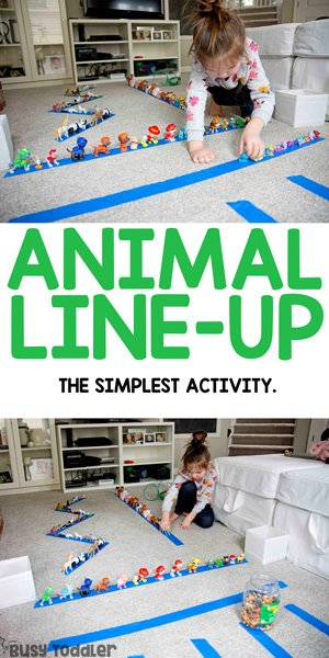 ANIMAL LINE-UP: A quick and easy fine motor activity for toddlers or preschoolers; practice patience, spatial awareness, and hand-eye coordination in this fun indoor activity from Busy Toddler