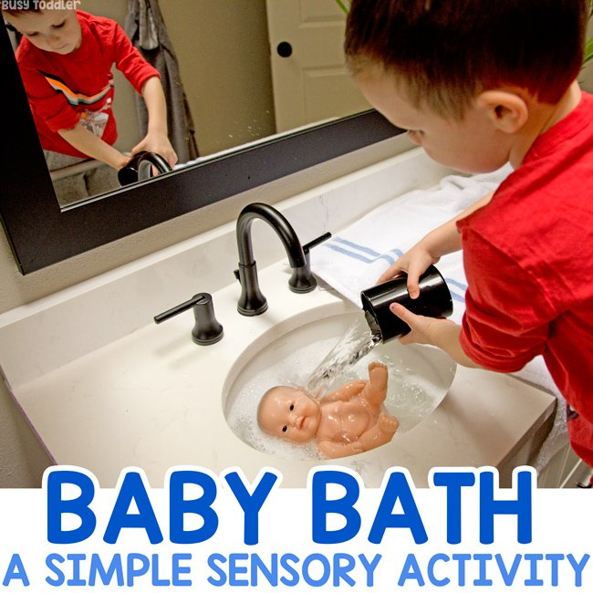BABY DOLL BATH: Let your toddler wash their baby doll in a sweet sensory activity. Toddlers can practice their care taking skills. A dramatic play activity from Busy Toddler.