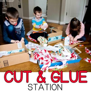 CUT and GLUE STATION: Help your children create and imagine with this cut and glue station. A quick and easy activity for kids of all ages (toddlers, preschoolers, kindergarteners). Help kids learn valuable cutting and gluing skills with Busy Toddler