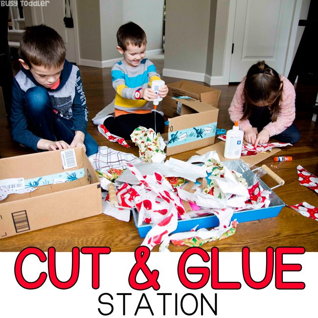 CUT & GLUE STATION: Help your children create and imagine with this cut and glue station. A quick and easy activity for kids of all ages (toddlers, preschoolers, kindergarteners). Help kids learn valuable cutting and gluing skills with Busy Toddler