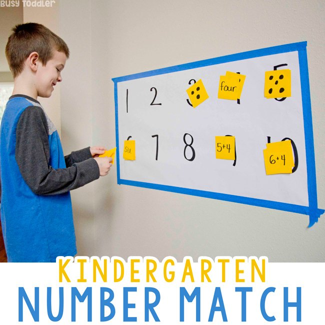 KINDERGARTEN NUMBER MATCH: Need a fun way to get your kindergartener active in math? Try this quick and easy number sense activity from Busy Toddler. A common core kindergarten math activity.