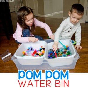 POM POM WATER BIN: A quick and easy toddler sensory activity; preschool sensory bin; pom pom activity; easy activity on a rainy day; fun indoor kids activity from Busy Toddler