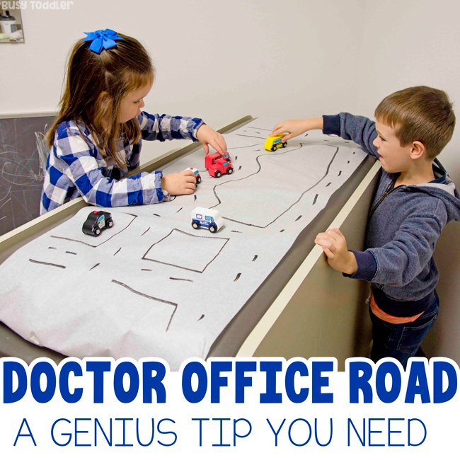 DOCTOR'S OFFICE ROAD: Make a doctor's officer road for your kids to play with at the office. it's a quick and easy way to calm kids down as they wait for the doctor