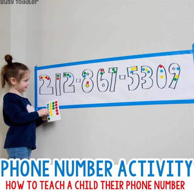 PHONE NUMBER ACTIVITY: How do you teach a child their phone number? With a phone number activity - a quick and easy activity for kids from Busy Toddler