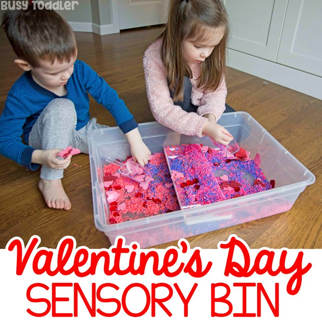 Valentine's Day Sensory Bin: A quick and easy sensory activity from Busy Toddler; dollar stores supplies in a simple sensory activity; easy indoor activity