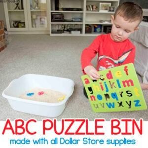 ABC PUZZLE BIN: A quick and easy toddler activity using Dollar Store Supplies; a fun activity from Busy Toddler