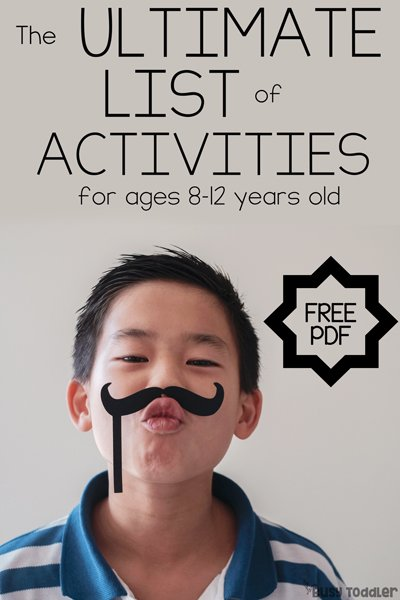 ACTIVITIES FOR KIDS: Looking for activities to do at home with kids using stuff they already own? Check out this list created by teachers; 25+ boredom busters for kids ages 8-12 while school is closed (list created by Busy Toddler)