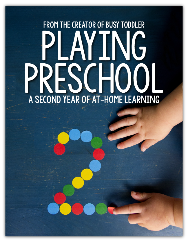 PLAYING PRESCHOOL YEAR 2: Welcome to the second year of the Playing Preschool Program; homeschool preschool; preschool at home; preschool lesson plan; preschool curriculum; homeschool curriculum; at-home learning activities from Busy Toddler