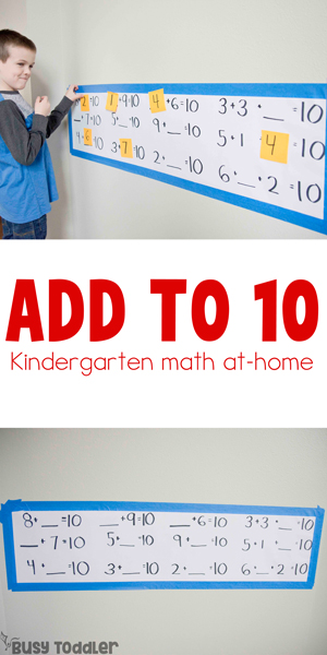 ADD to 10: a kindergarten math activity for the Common Core State Standards; kindergarteners find the missing addend to make 10; add within 10 from Busy Toddler