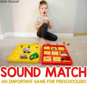 HEARING SOUNDS READING ACTIVITY: This quick and easy literacy activity is perfect for teaching phonemic awareness. Help your child learn this crucial skill BEFORE they start learning to read (Busy Toddler)