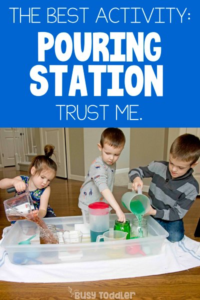 RAINBOW POURING STATION: A quick and easy kids activity that holds little attention spans - this is the best indoor activity for kids stuck at home. A great indoor activity for toddlers and preschoolers - kids love playing with water in this activity from Busy Toddler