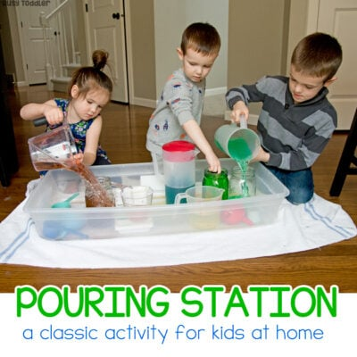 Rainbow Pouring Station Kids Activity