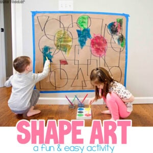 SHAPE ART: A quick and easy math / art activity for toddlers and preschoolers; an easy indoor activity; a fun activity on a rainy day from Busy Toddler